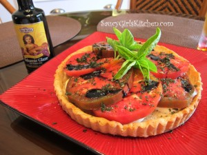 Heirloom Tomato Tart with Black Pepper Parmesan Crust and Gia Russo Balsamic Glaze