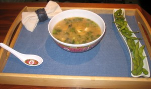 lunch of miso soup and edamame