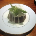 Chocolate Melt Cakes with Whipped Cream and Sugared Mint Leaves