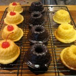 mini bundt cakes with vanilla glaze, chocolate glaze and lemon glaze
