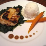 Miso Cod with Sushi Rice, Steamed Spinach & Baby Carrots