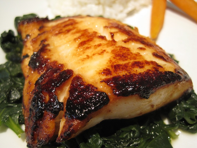 Miso Cod on Steamed Spinach