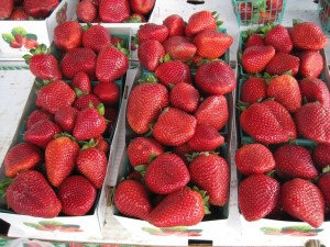 Fresh Strawberries at Farmers' Market