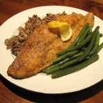 Fresh Pan-Fried Trout with Wild Rice and Steamed Green Beans