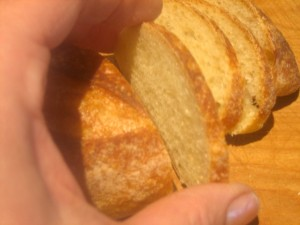 thin slices of the baguette