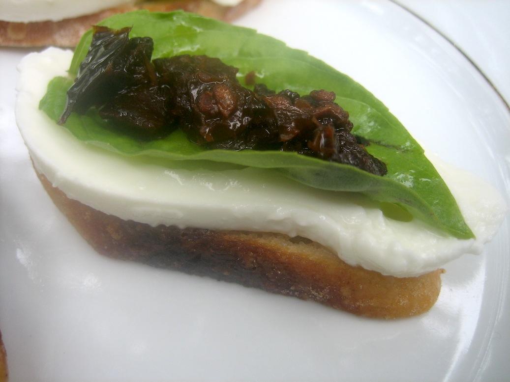 Crostini with Burrata, Basil and Sundried Tomatoes