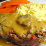 Meatloaf with Mushroom Gravy served with Orzo and Carrots