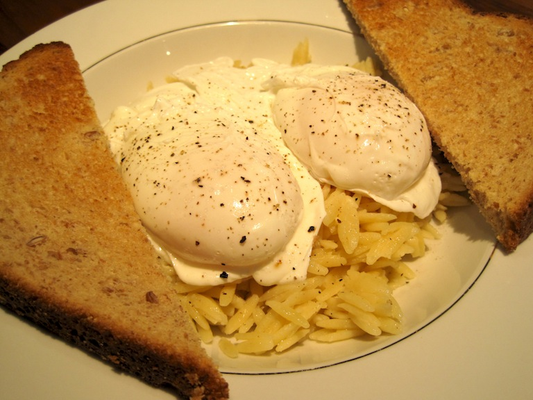 Breakfast - Two Poached Eggs over Orzo