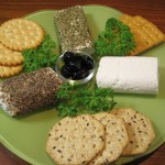 Goat Cheese Plate with Crackers and Olives