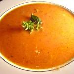 Homemade Tomato Soup with Basil Garnish