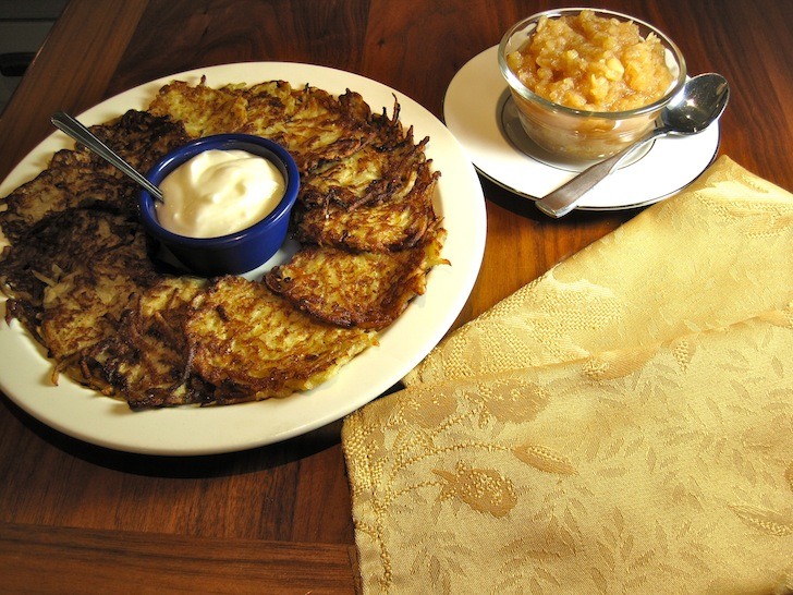 Potato Pancakes - Austrian Style with Homemade Applesauce and Yogurt