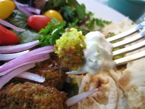 forkful of falafel and raita