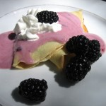 Palacinkys with Fresh Blackberries, Yogurt and Whipped Cream