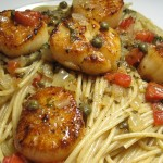 Sauteed Scallops over Whole Grain Pasta with Lemon Beurre Blanc Sauce