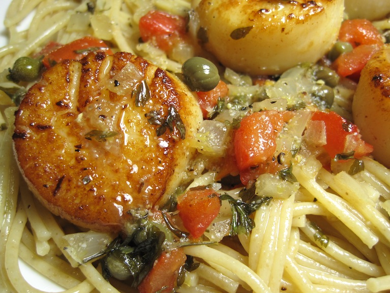 Scallop On Pasta Close Up