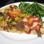 Philly Cheese Steak Pizza with Arugula side