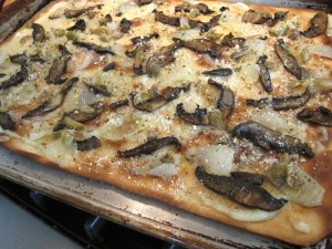 Portabello Mushroom Flatbread on baking sheet