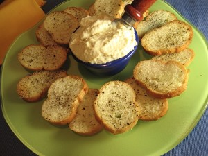 Plate of Crostini with Greek Garlic Sauce