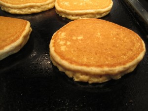 Peanut Butter Pancakes on the griddle