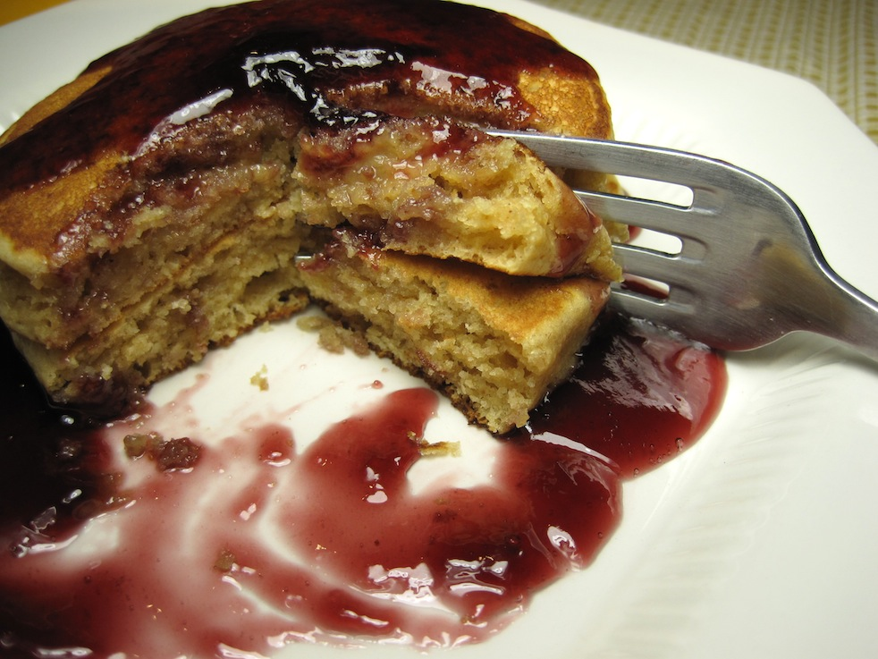 Peanut Butter Pancakes with Grape Jelly Syrup