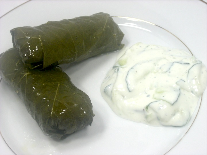 Stuffed Grape Leaves with Tzatziki Sauce