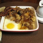 French Toast Bread Pudding with Eggs & Bacon