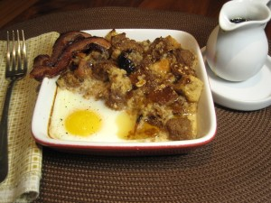 French Toast Bread Pudding with Egg & Bacon for Breakfast