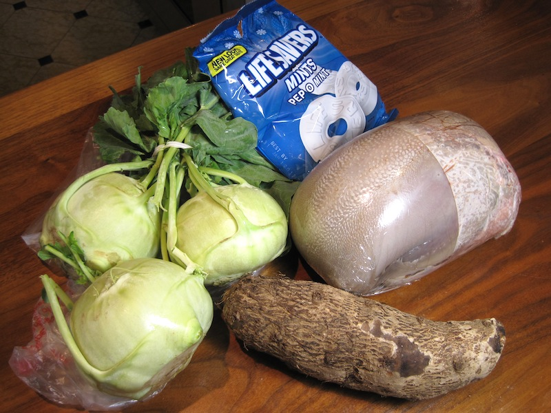"""Chopped"" basket #2 - Kohlrabi, Peppermint Lifesavers, Beef Tongue and Malanga"