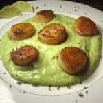 Scallops with Avocado Cilantro Sauce
