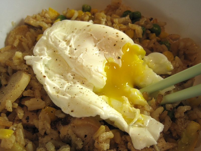 Chicken Fried Rice topped with a Poached Egg