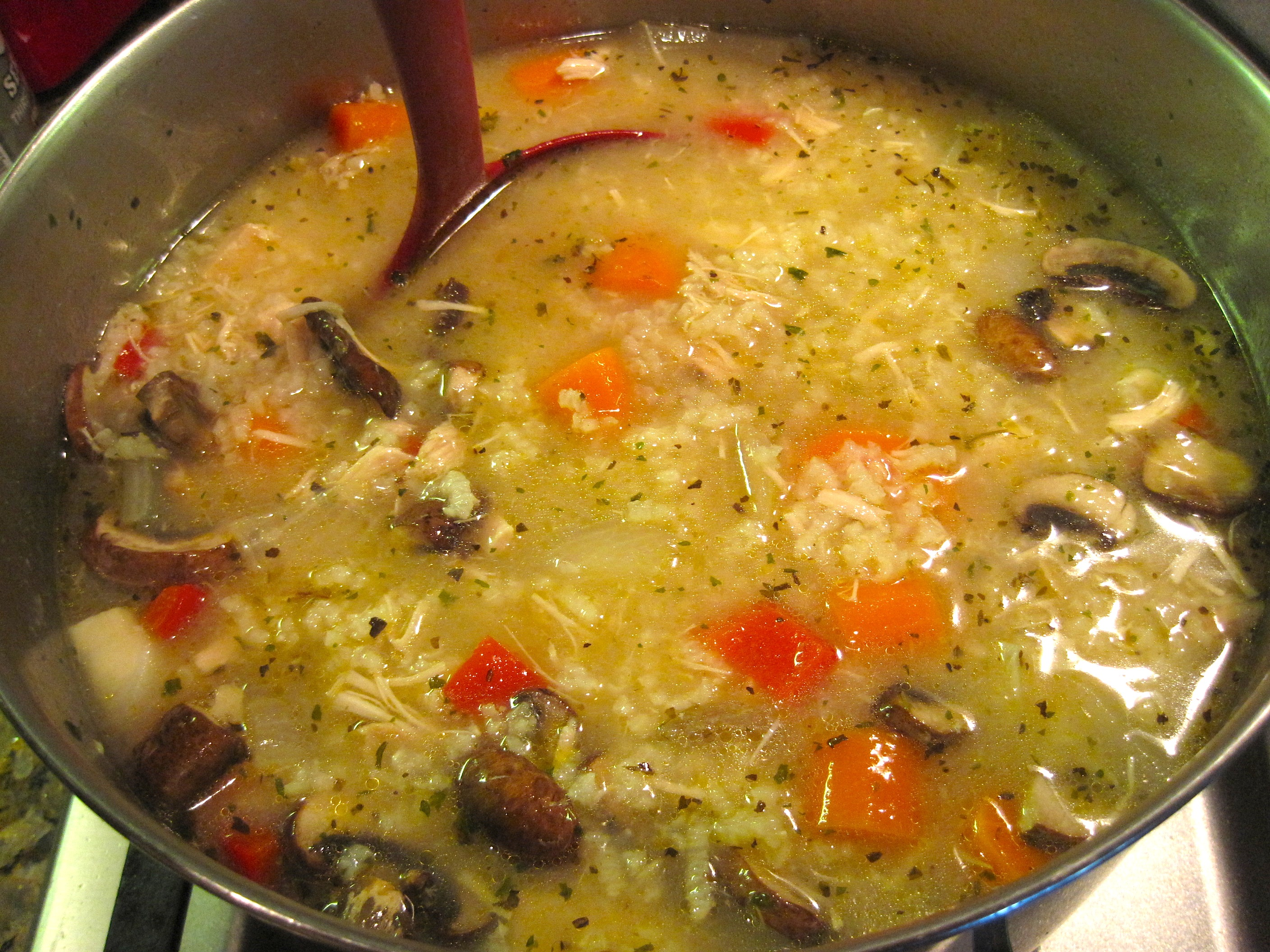 Pot Of Chicken Soup With Rice