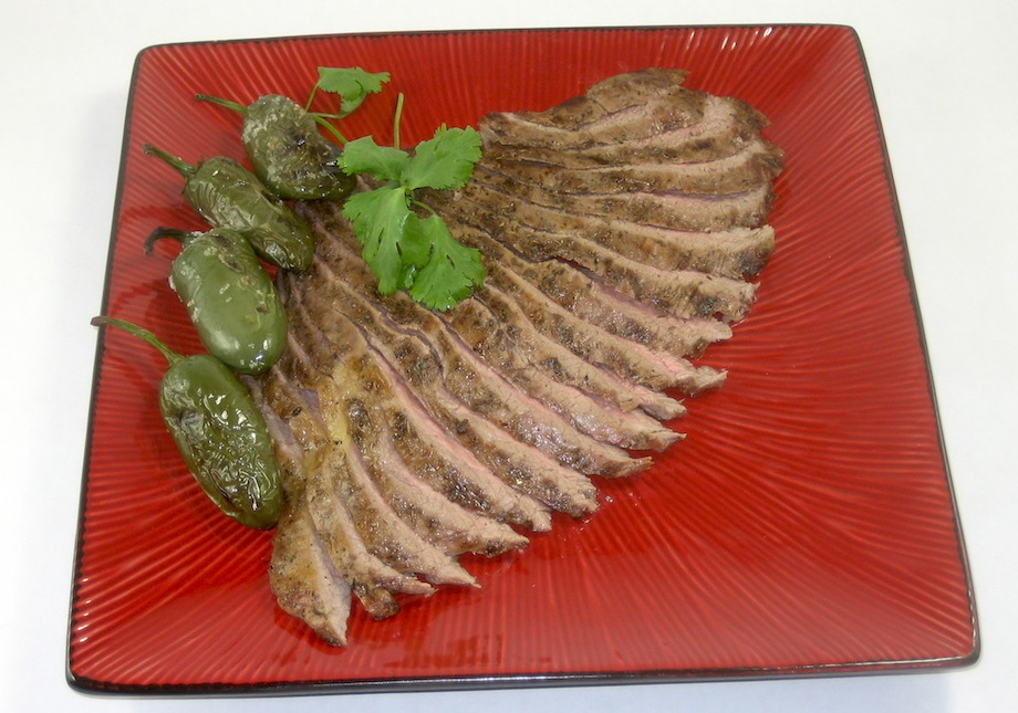 Flank Steak with Roasted Jalapenos