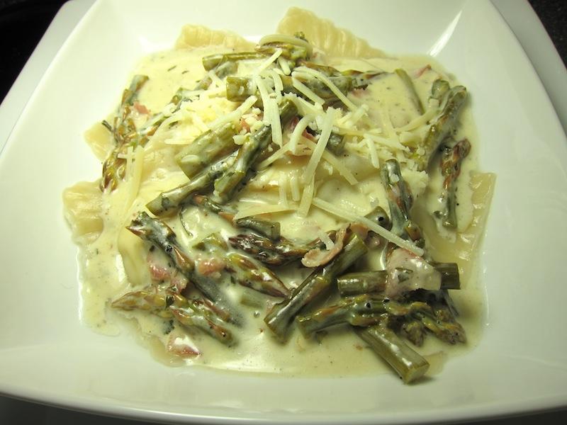 Fresh Ravioli with Lemon Wine Sauce, Asparagus & Prosciutto