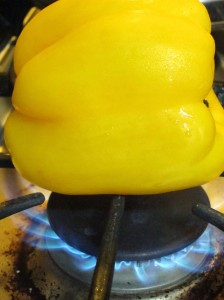 Yellow Bell Pepper on the Stovetop