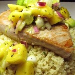 CousCous & Tuna Steak topped with Avocado Mango Salsa