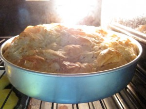 Phyllo Cake baking in oven