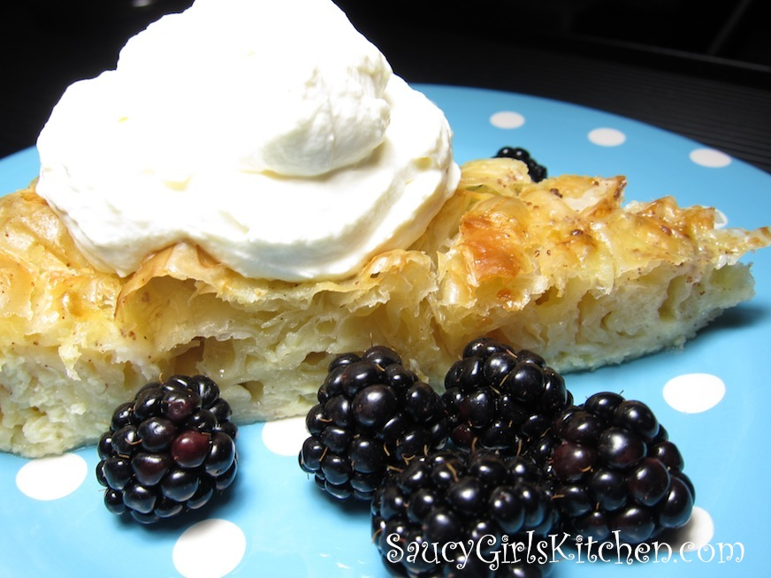 Phyllo Cake with Blackberries and Honey Whipped Cream