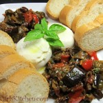 Caponata with Fresh Italian Bread and Burrata Cheese