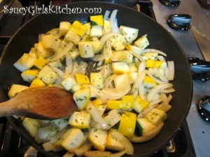 Sauteing squash and onion