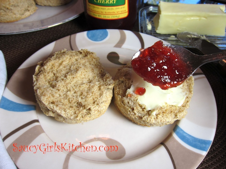 Whole Wheat Biscuit with Butter and Cherry Jam