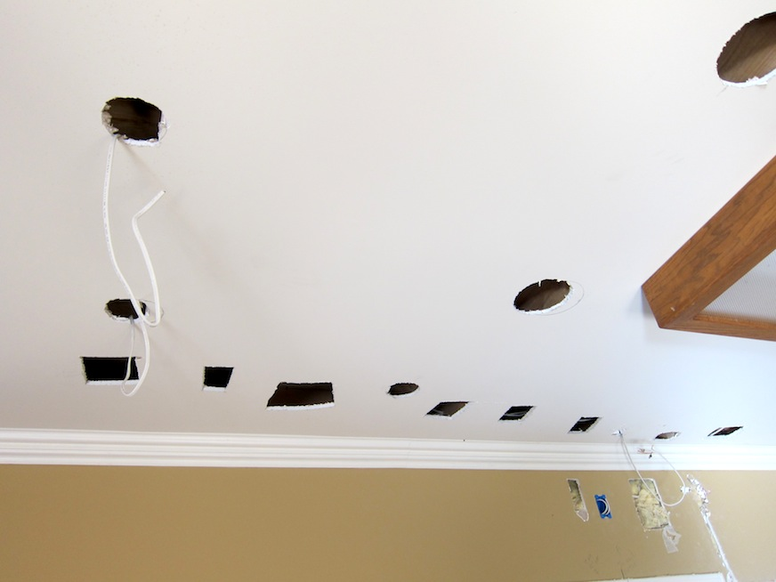 Kitchen ceiling with holes