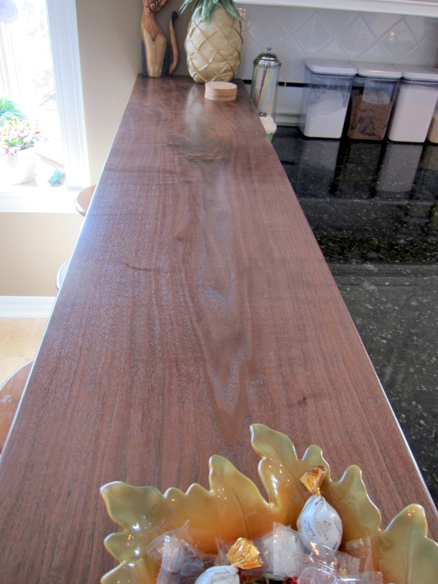 Beautiful walnut bar countertop