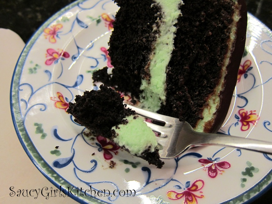 Eating a piece of Chocolate Mint Cake