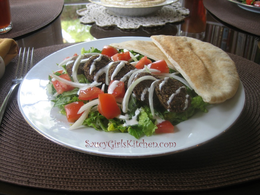 Falafel plate with salad and pita