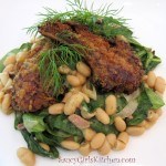 Saucy Mama Dill Mustard Crusted Lamb Chops with Spinach & Cannellini Beans