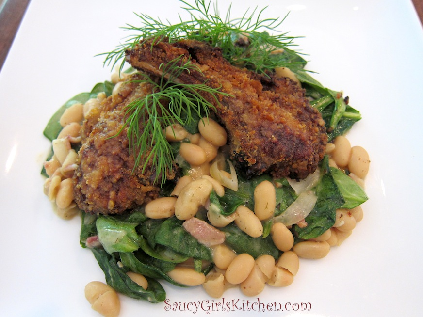 Saucy Mama Dill Mustard & Pretzel Crusted Lamb Chops with Spinach & Cannellini Beans