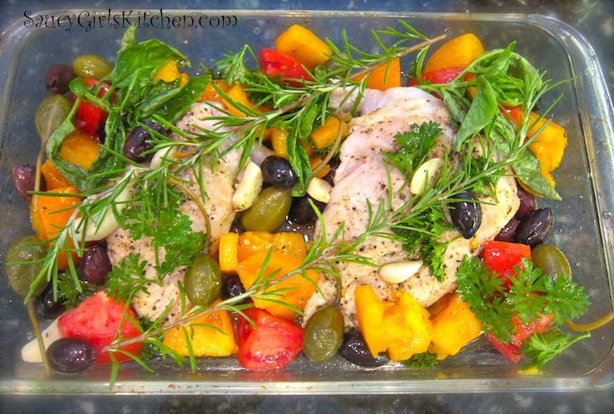 Mediterranean Baked Chicken ready for the oven