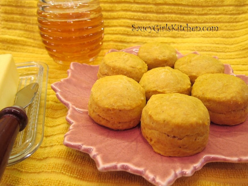 Pumpkin Muffins with Honey and Butter on the side