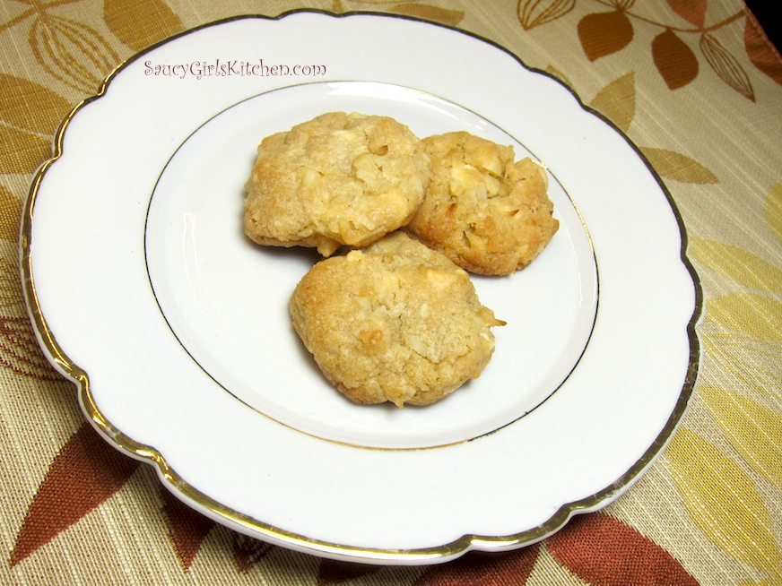 Coconut Macadamia Cookies on a plate