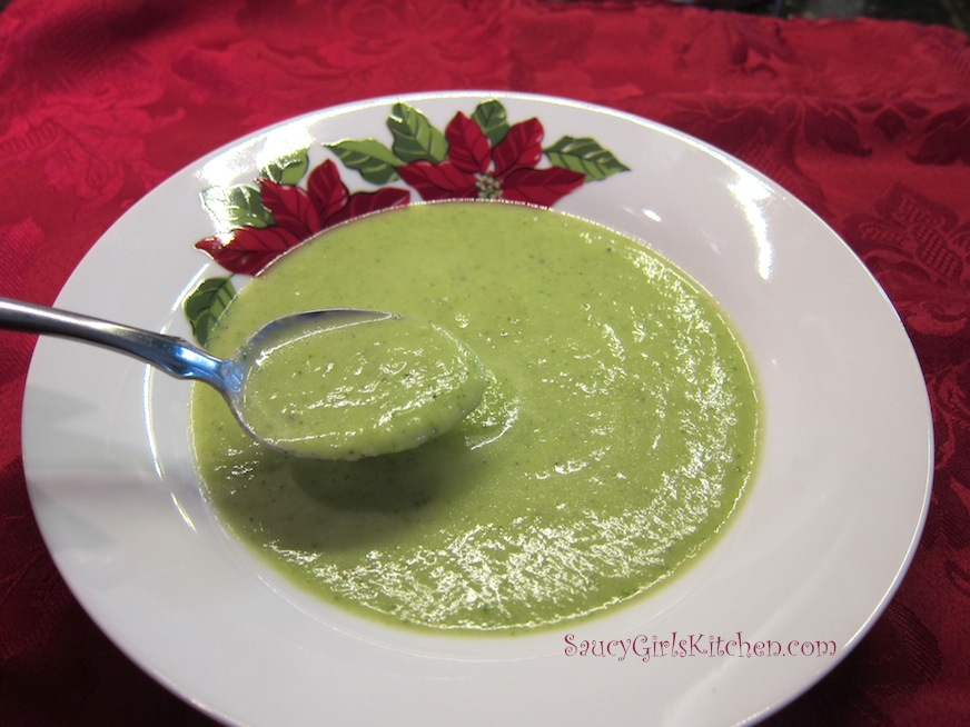 A spoonful of broccoli soup